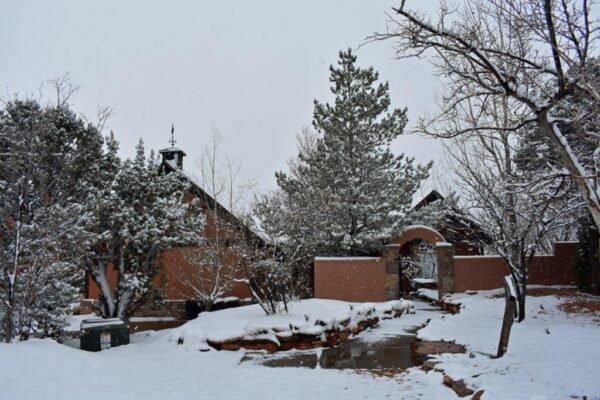 Lodge entrance snow