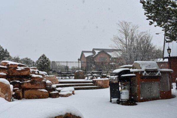 Lodge north patio snow
