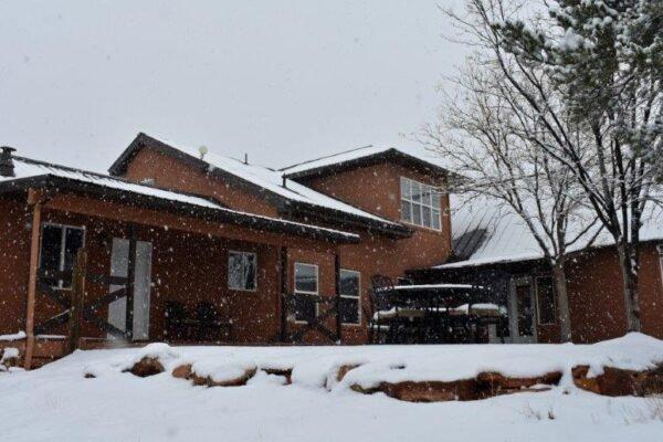 Lodge south patio snow
