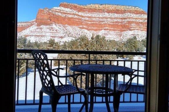 Retreat balconey view snow